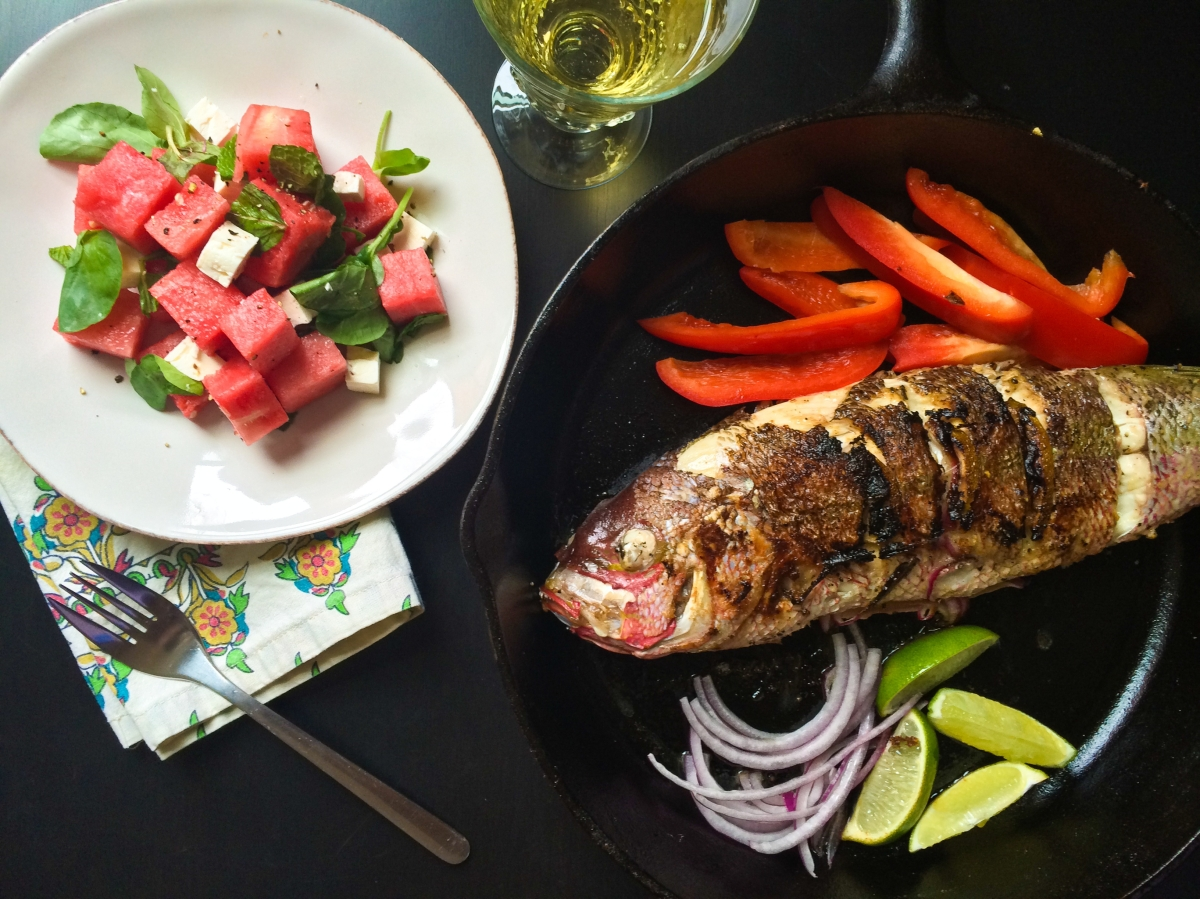 South Beach Inspiration-Pan Seared Whole Snapper with Watermelon Feta Salad