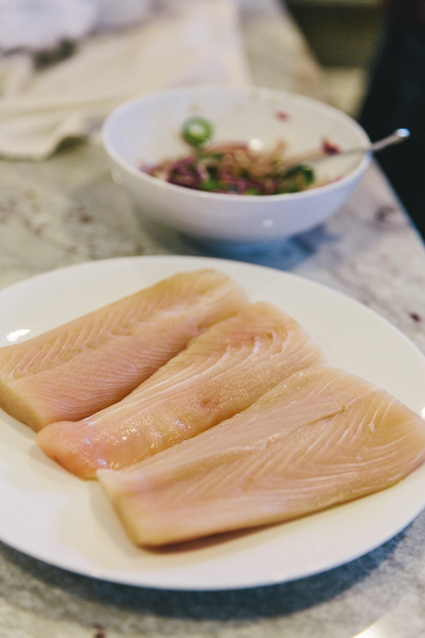 We used mahi mahi, but any firm fleshed fish will do.