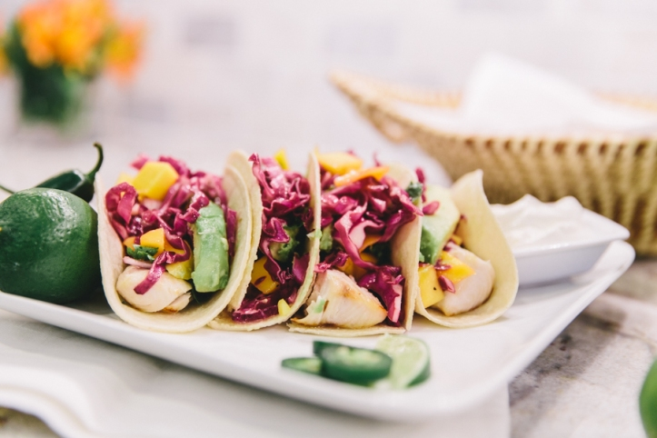 Fish Tacos w/ Red Cabbage + Mango Slaw