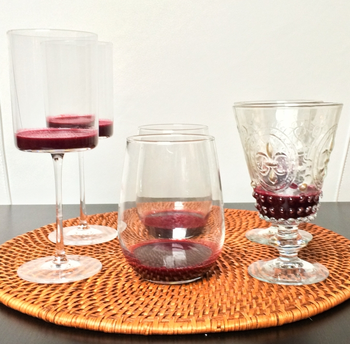 Bring out the multi-tasking stemware! (NOTE: These glasses are for visual purposes only and are much larger than needed for the six servings. Smaller ramekins or canning jars are more appropriate in size.)