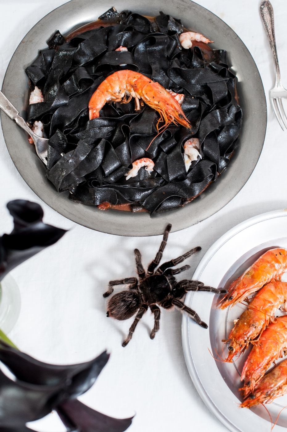 Spooky Squid Ink Pasta w/ Shrimp and Tomatoes